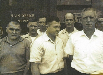 On Main Street in Coshocton, Ohio after a union meeting, L to R Tesco Howard, Doyle Rice, Raliegh Hunter, Normas Nubbin Burnett, Arnold Duff, Drexel Wright.