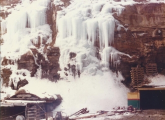 Outside #5 U.G. Mine - Entrances during the blizzard of 1978.