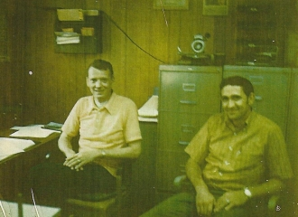 Inside Simco-Peabody U.G. office- 1973- L to R= Roger McCabe, Nelson Hall.