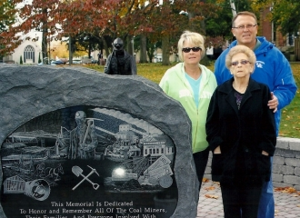 Memorial Stone set in place. Standing beside of the stone is: Debra (Bennett) Brown to left, Wilma Bennett to the right and Sam Bennett behind his Mother and Sister. October 18, 2013.