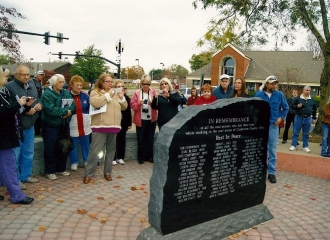 After the unveiling of the stone, everyone taking pictures on October 19, 2013.