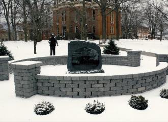 Wintry Scene of the Coal Miners Memorial in December 2013.