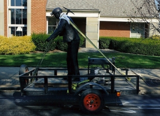 Coal Miner Bronze Statue. This is how Alan Cottrill transported this from Zanesville, Ohio to Coshocton, Ohio on Friday October 18, 2013 to place statue on cement pads the day before the dedication service. October 18, 2013.