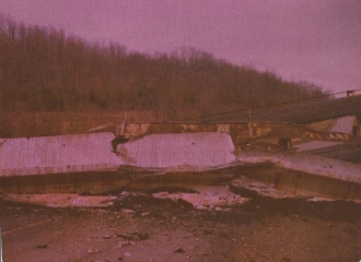 Simco-Peabody Coal Co #5 U.G. Mine belt line over top of State Route 83 South that collasped in early part of 1978.
