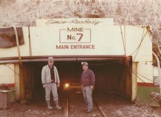 Simco-Peabody Coal Co.U.G. Mine November 23, 1975, Coal Mine track entry- L to R , Gary Garbus.