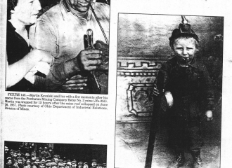 Top Photo Left- Martin Kovalski and his wife a few moments after his rescue from the Powhatan Mining Company Betsy #3 mine. Martin was trapped for 15 hours after the mine roof collapsed on June 26,1957, Photo courtesy of Forrest Walton.  Top Right = Child coal miner, circa 1900. Location unknown.