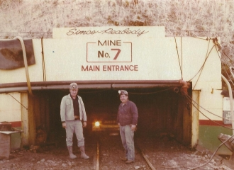 Simco-Peabody Coal Co.U.G. Mine November 23, 1975, Coal Mine track entry- L to R  , Gary Garbus.